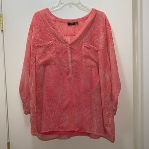 Apt. 9 Size 2X Coral Spotted Blouse and Tank Top